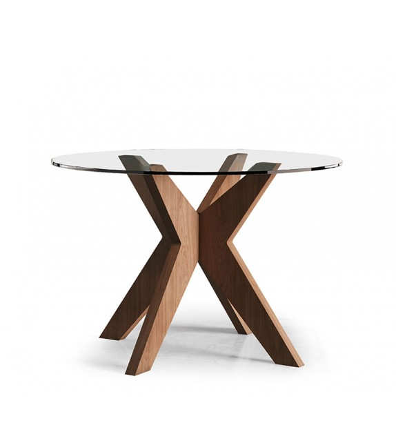 Mesa de comedor con tapa de cristal y madera. 100/105/110/115/120 Ø