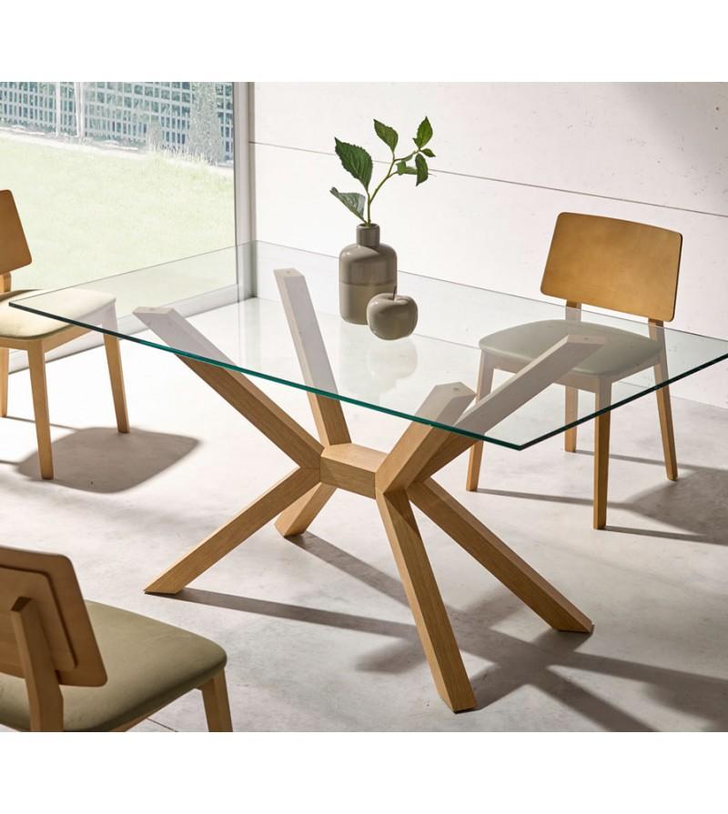 Mesa de comedor madera de haya y tapa de cristal: 120/130/140/150/160
